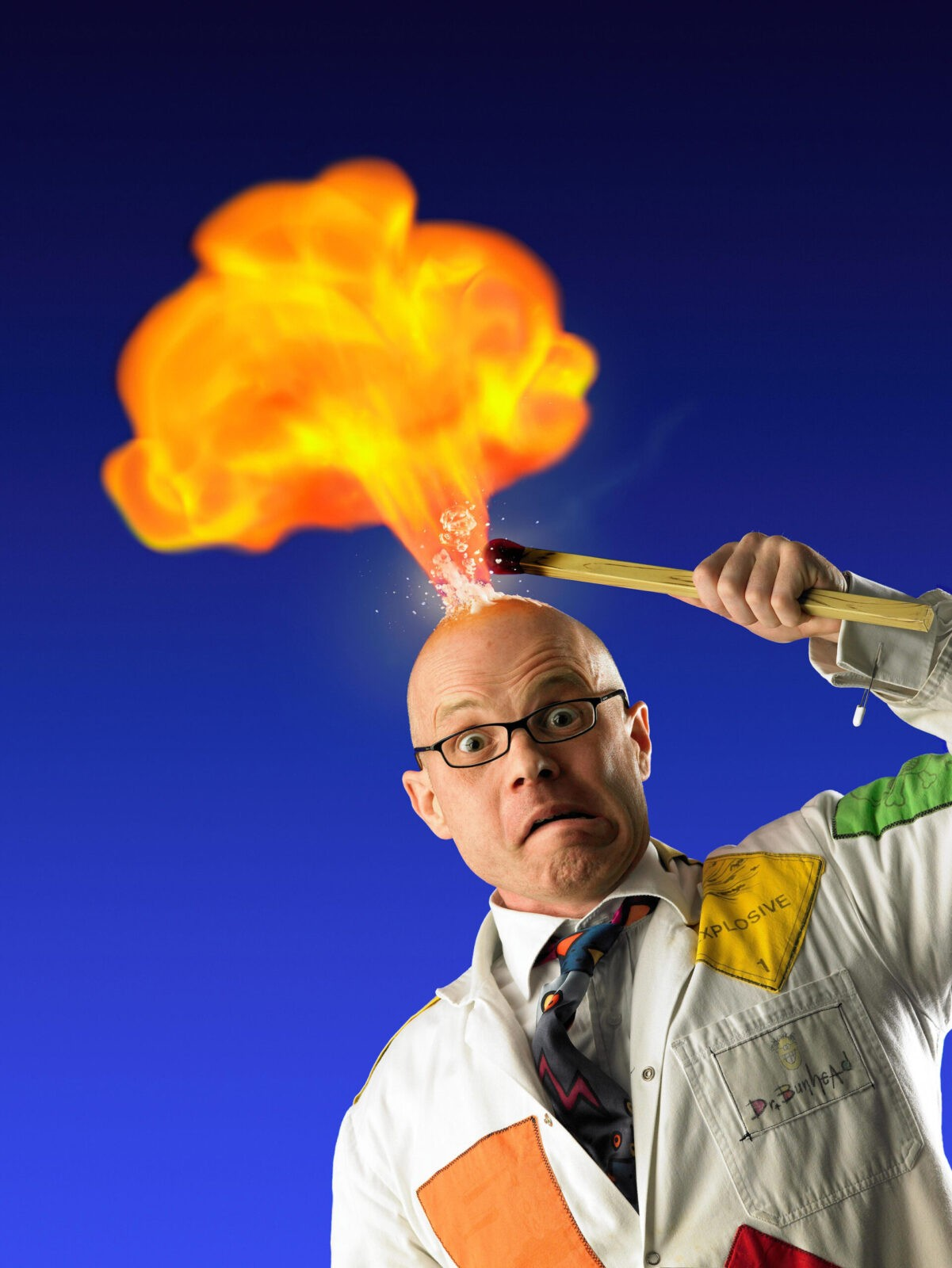 Dr. Bunhead setting flame in his head