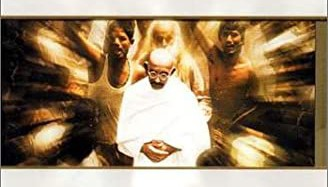 Image of Ben Kingsley as Ghandi on the video of the film
